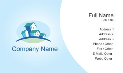 Blue and White Real Estate Business Card Template
